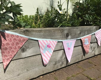 personalised bunting, fabric bunting, double sided bunting, price per flag, pink bunting, floral bunting, free shipping