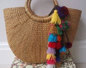 Straw Beach Bag Beach Bag Tote Beach Bag Pom Pom Beach Bag Straw Beach Bag Tassel Bohemian Tote Summer Bag Market Basket
