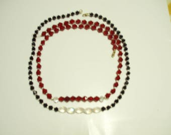 20in 8mm ruby bicone crystal necklace & earing