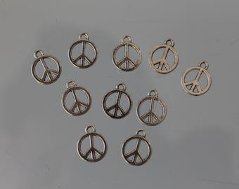 10 charms in peace and love in silver - 16 x 12 mm - charm - jewelry - vintage - hippie