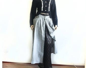 Vintage outfit Street Warrior style Button down cotton skirt pyjama pants and chique 'japanese' top