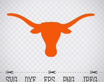 Texas Longhorns Logo SVG DXF EPS Png Digital Cut Vector Files for Silhouette Studio Cricut Design Space Cameo & Cricut