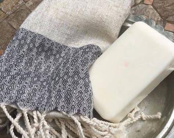 Linen handwoven Turkish hand towel, woven by artisan