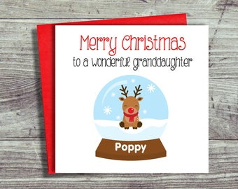 Personalised Christmas Card For Granddaughter, Reindeer Christmas Cards. Child's Christmas Cards