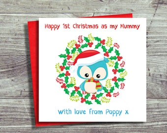 Happy First Christmas as Mummy Card, Christmas Card For Mum, Mammy's First Christmas, Mum First Xmas. Card From Baby