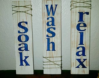 Set of 3, distressed, rustic,  white stained signs with blue font soak, wash, relax, bathroom hanging decor, office decor, bathroom decor,