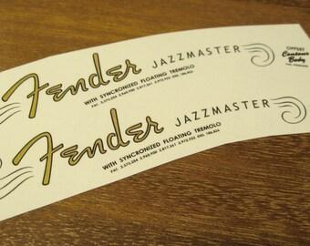 Fender Jazzmaster Headstock Decal set for 1962 - 1964 Jazzmaster Waterslide Decals Vintage Guitar Parts