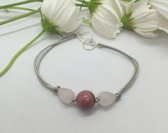 Simple Rose Quartz, Rhodonite, Metallic Leather, and Sterling Silver Bracelet