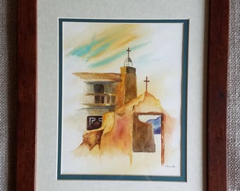 Framed Original Watercolor of Spanish Mission in New Mexico