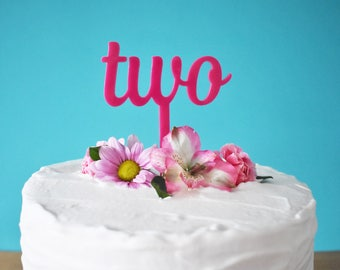 Pink Two Cake Topper For Girl's 2nd Birthday Laser Cut Acrylic