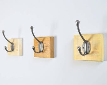Reclaimed Wood Cast Iron Single Hook Plaque