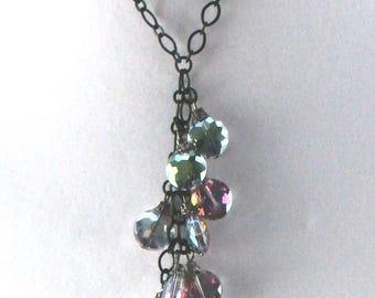 Tassle Dangle Necklace Rainbow Faceted Glass Bead Tiered Tassle Pendant