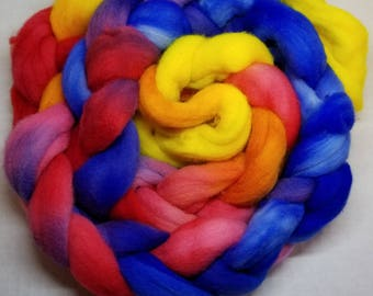 100% polwarth roving  hand dyed spinning or felting fiber indie dyed fiber