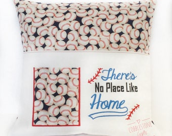 Baseball Pocket Pillow - There's No Place Like Home - Remote Pocket - Book Pillow