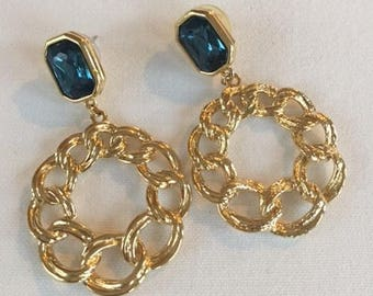 Vintage Blue Stone and Gold Pierced Earrings