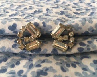 Stunning Faux Diamond Screw Back Earrings 1960s