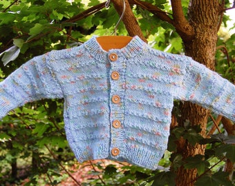 Hand Knitted Baby / Toddler Cardigan in Blue
