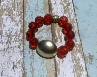 Red and silver beaded stretch bracelets