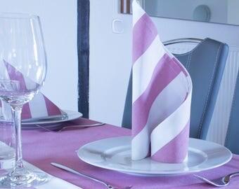2 napkins, pink with strips, 38 cm x 38 cm