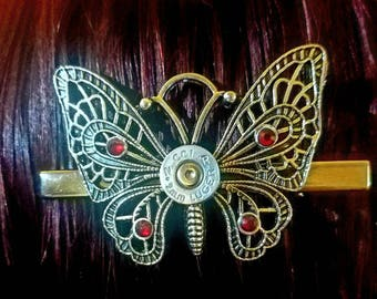 9mm Bullet Shell and Filigree Butterfly Hair Clip - Gifts for Her - Bullet Jewelry for Women