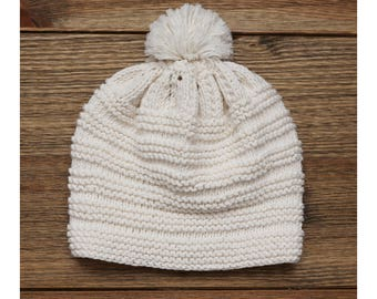 Baby Handmade Hat, Baby Hat, Garter Stitch, Cotton, Ivory White Hat, Baby Boy, Baby Girl, Kid Hat, Knit Baby, Handmade, Hat With Pompon
