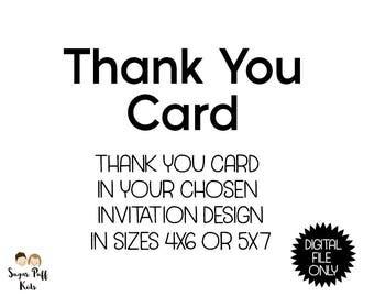 Custom Personalized Birthday Thank You Card Digital File