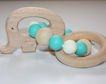 Elephant teething ring / Sensory baby toy / Wooden elephant teether / infant toy / Chewable beads / silicone teething