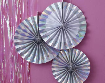 Iridescent Hanging Paper Fan Decorations, Iridescent Decor, Birthday Party Decor, Wedding Paper Fans