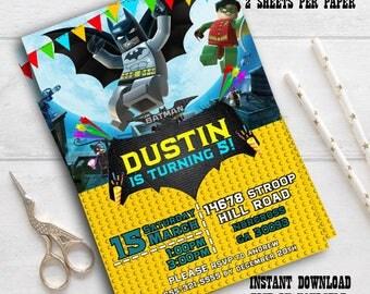 Instant Download-Lego Batman Invitation- Lego Batman Invite- Lego Batman Birthday- Lego Batman Party- Lego Batman editable pdf invitation