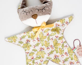 Baby comforter squirrel nursery toy plush doudou Light brown sensory cuddle toy baby comforters girls Baby shower gift