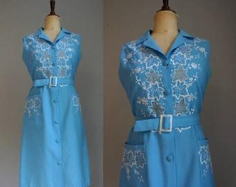 Sky Blue Embroidered 1960s Shirtwaist Dress