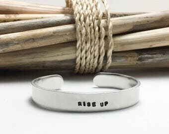 Rise Up, Bracelet, Silver Cuff, Musical Quote, Motivational Quote