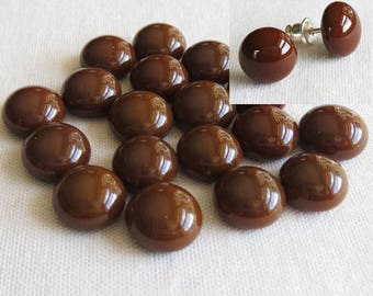 Brown Cabochon 9-10mm (18 cabs) Small Cabochon Fused Glass Cabochon Round Cabochons Simple for Post Earrings Jewellery