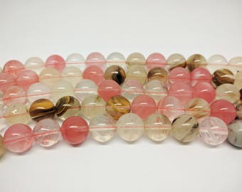 Quartz Beads Cherry Quartz Beads Beads Round Cherry Quartz Watermelon Quartz Beads Multicolor Beads Rainbow Quartz Bracelet Beads Mala Bead