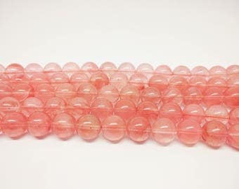 8mm Cherry Quartz Beads Round Cherry Quartz 10mm Cherry Quartz  12mm Beads Pink Beads for Jewelry Supplies DIY Jewelry Beads Round Beads