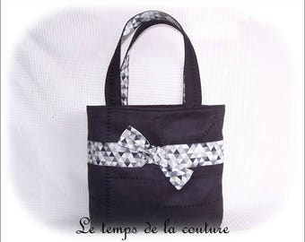 Bag - shades of black, grey, white and beige - faux - handmade.
