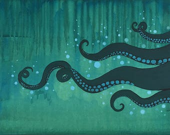 tentacles art painted tentacles octopus mixed media painting nautical decor bathroom decor