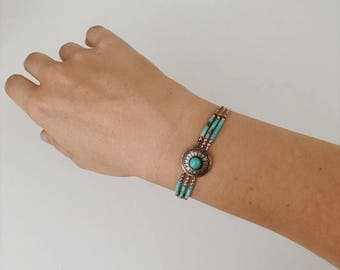 Native American turquoise bracelet | vintage turquoise bracelet | boho bracelet | boho jewelry | gifts for her | turquoise jewelry