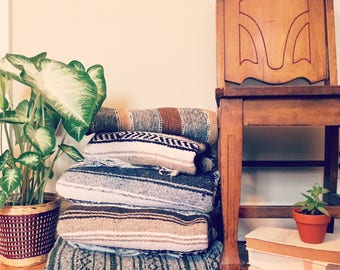 Vintage Navy Brown and Gray Mexican Blanket / beach blanket / boho home decor blanket