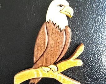 Intarsia Eagle Handcrafted Scrollsaw