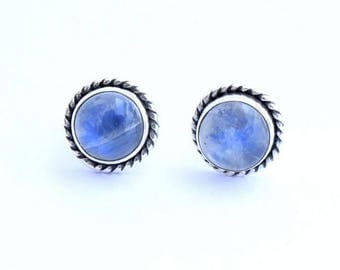 Rainbow Moonstone Stud Earrings, Moonstone Post Earrings, Silver Stud Earrings, Tiny Earrings
