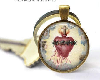 SACRED HEART Key Ring • Heart of Jesus Christ • Sacre Coeur • Bleeding Heart • Heart with Thorns • Gift Under 20 • Made in Australia (K568)