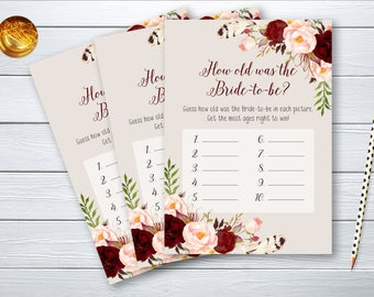 How old was Bride Bridal Shower Printable Game Burgundy Marsala Wedding Bridal Quiz Wedding Card Instant Download - BG005