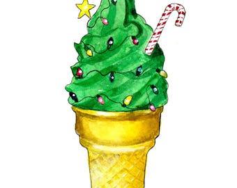 Ice Cream Cone Christmas Tree Holiday 5 x 7 inch Art Print - Peg Does Art