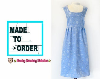 MADE TO ORDER- xs-xxl ladies washi dress,choose your print dress, custom dress, easy cotton dress, womans dress, gift for her