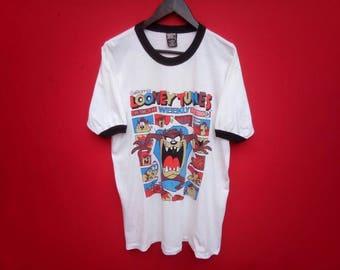 vintage looney tunes tazmania ringer large mens t shirt