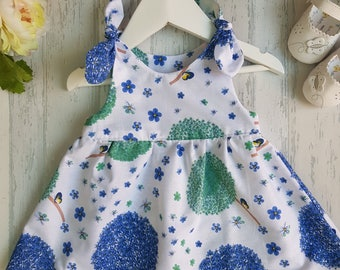 baby dress, baby girl dress, dandelions, floral summer dress, white and blue dress, cotton baby dress