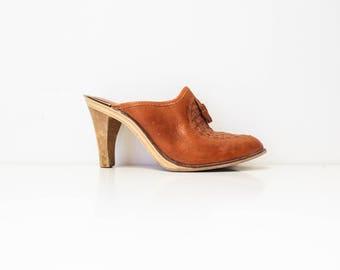 70's high heel slip on clogs-women's size 7 1/2