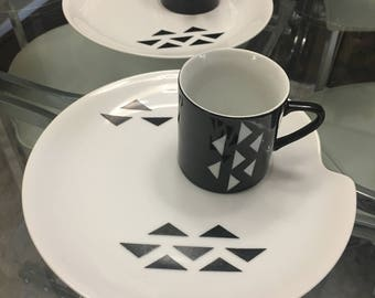 DOMINO in BLACK by Jonas Roberts  china party set mid century modern dinnerware