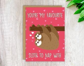 Cute Love Card Funny Anniversary Card Sloth Love Card Funny Cute Birthday Card Cute Greeting Card Sloth Gift Sloth Card for Her for Him